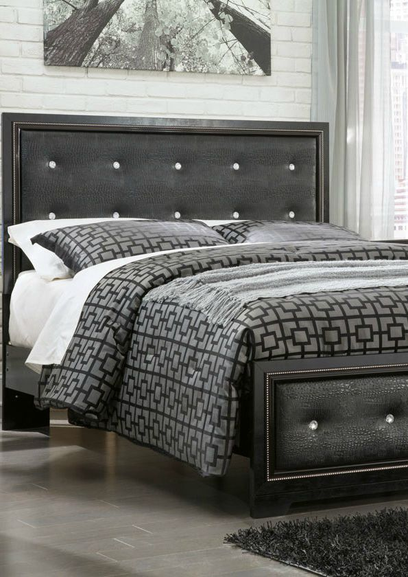 Tufted Faux Leather Accented By Faux Crystals Gives This Impressive