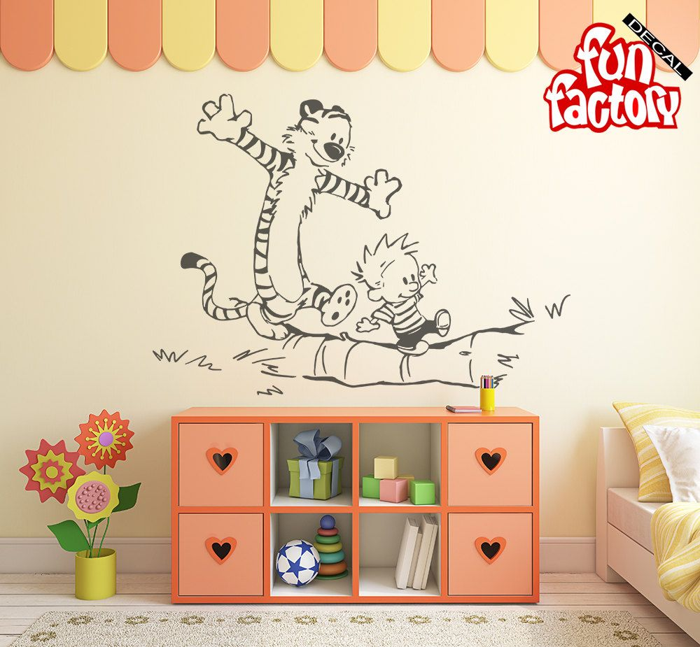 Calvin Hobbes Wall Decal Kids Boy Girl Nursery Room Sticker Design