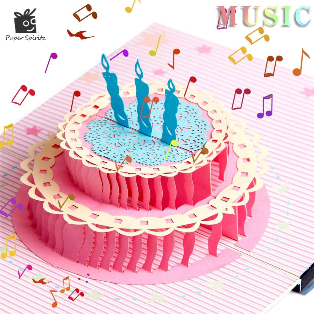 Postcards Handmade Colour 3d Pop Up Origami Musical Greeting Cards