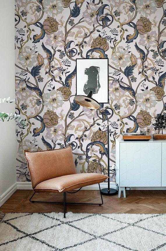 Vintage Floral Wallpaper Retro Wall Mural Floral Home Décor   Deery ...