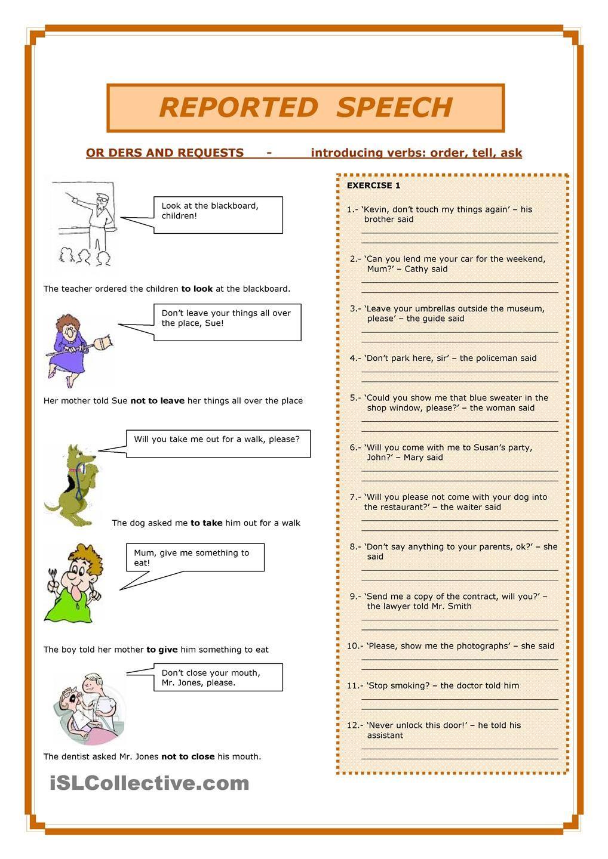 Workbooks speech worksheets : Reported Speech | every teacher should know | Pinterest | English ...