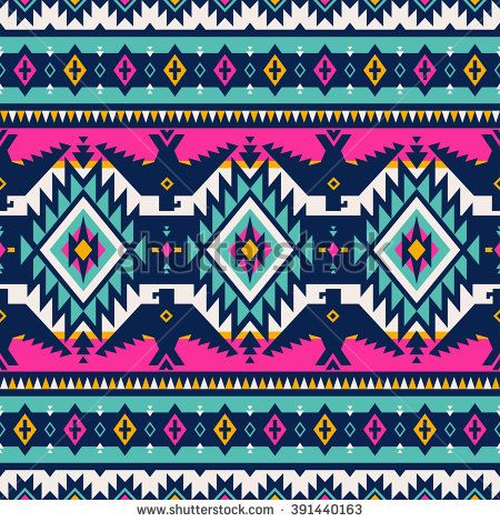 Multicolor Tribal Navajo Vector Seamless Pattern With Eagles Aztec Fancy Abstract Geometric Art Print