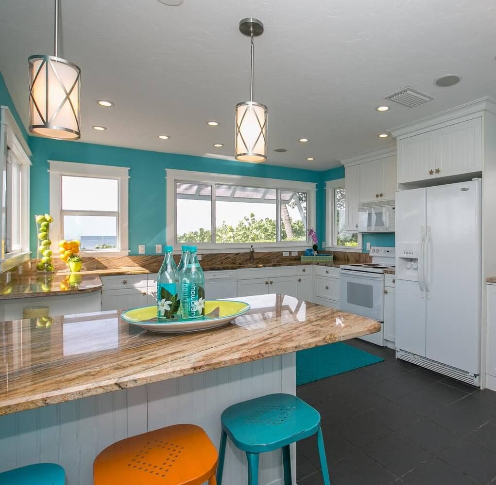 Coastal style kitchen blue and white beach room decor kitchens dining inspiration at sugarsbeach awesome house also anna maria island rental pinterest rh
