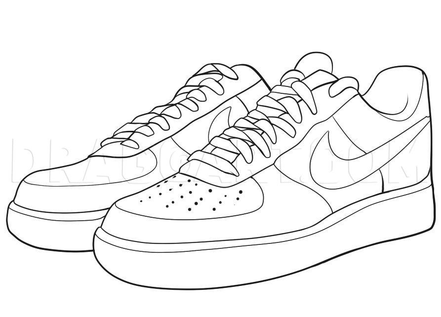 How To Draw Nike How To Draw Air Force Ones Step By Step Drawing Guide By Dawn Dragoart Com Sneakers Drawing Sneakers Illustration Shoes Drawing