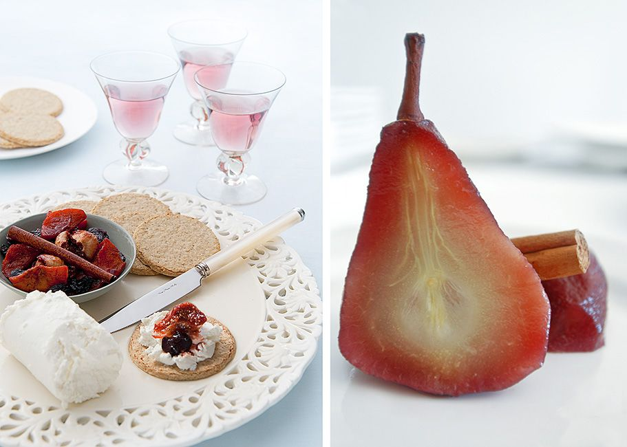Poached Pear and Cream Cheese Platter with Fruit by Penelope Beveridge
