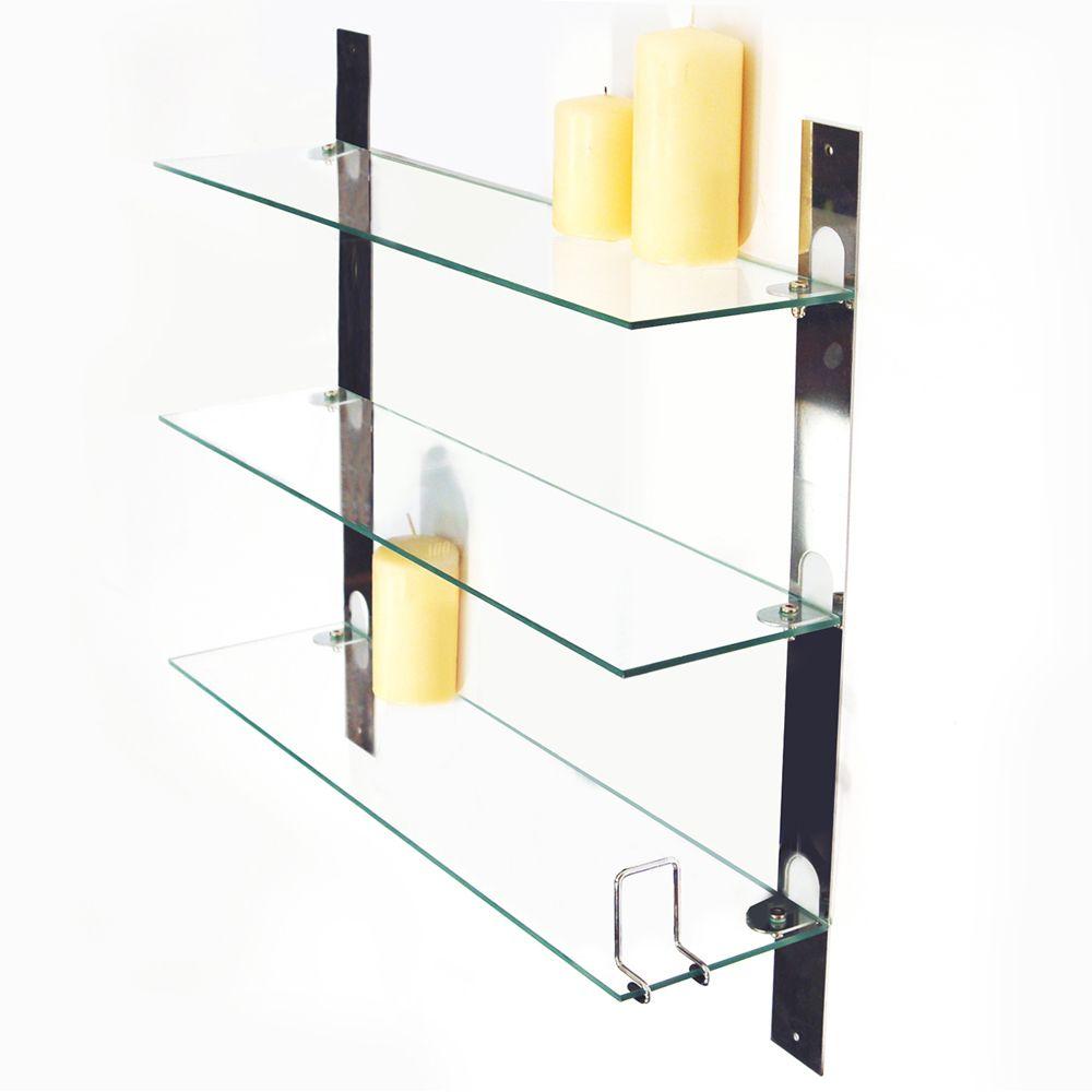 3 tier glass bathroom shelves   pinterdor   Pinterest   Glass ...