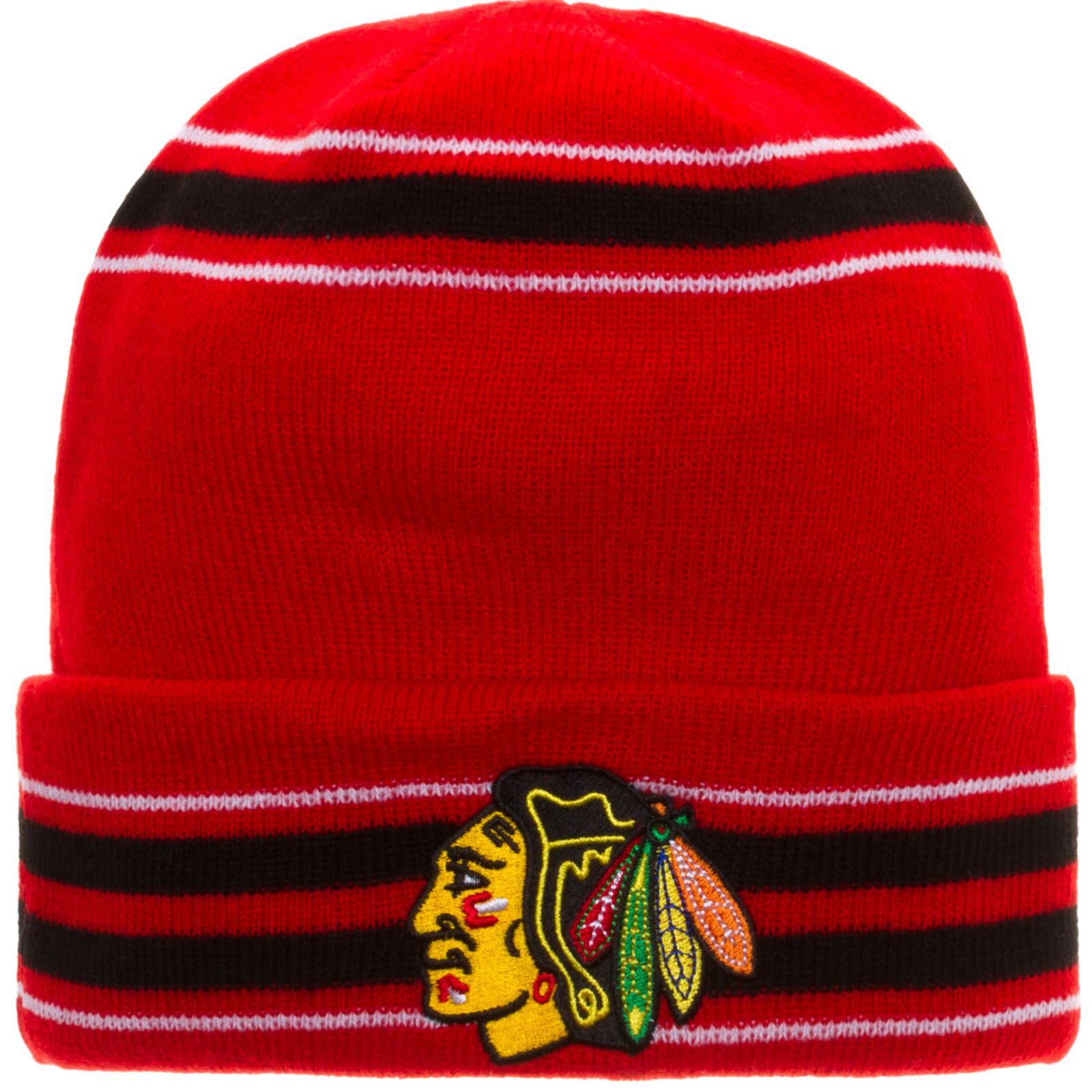 d84ea708f4f ... coupon code for chicago blackhawks red striped cuffed knit hat by old  time hockey chicago blackhawks