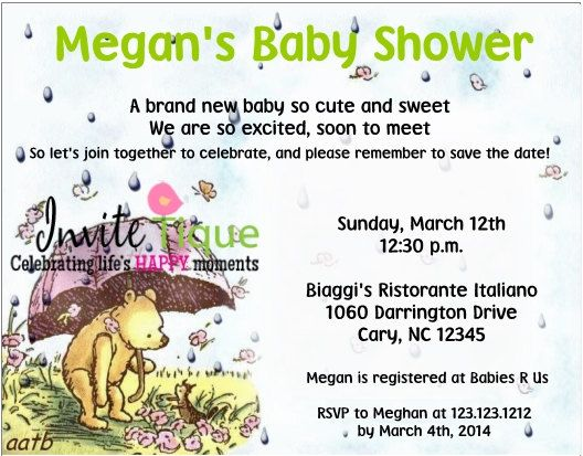 Classic Winnie the pooh Baby Shower invitations by Invitetique - sample resume food bank
