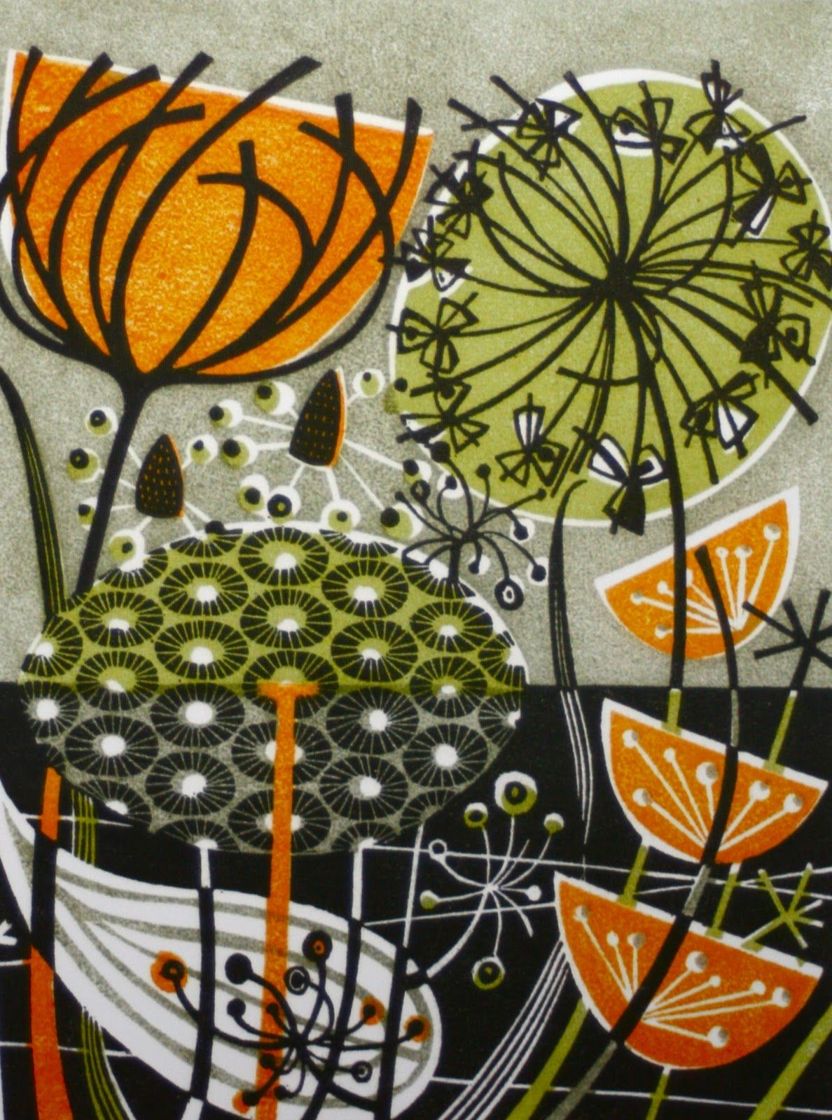 Angie Lewin Secondary Colours Print Abstract Focal