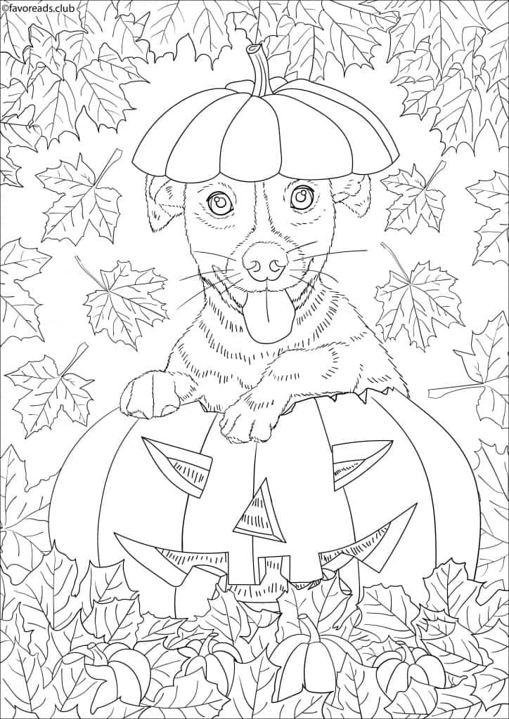 Cats And Dogs Dog In A Pumpkin Favoreads Coloring Club Halloween Coloring Pages Horse Coloring Pages Detailed Coloring Pages