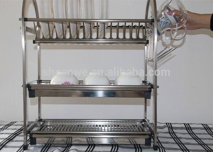 Gunagzhou Kitchen Storage Rack Stainless Steel Dish Rack 3tier Standing Kitchen Bowl And Plate Rack Photo & Gunagzhou Kitchen Storage Rack Stainless Steel Dish Rack 3tier ...