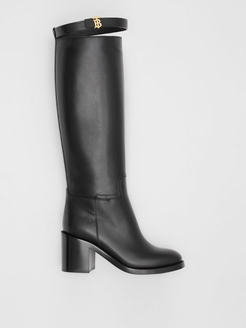 Burberry Monogram Motif Leather Knee high Boots In Black