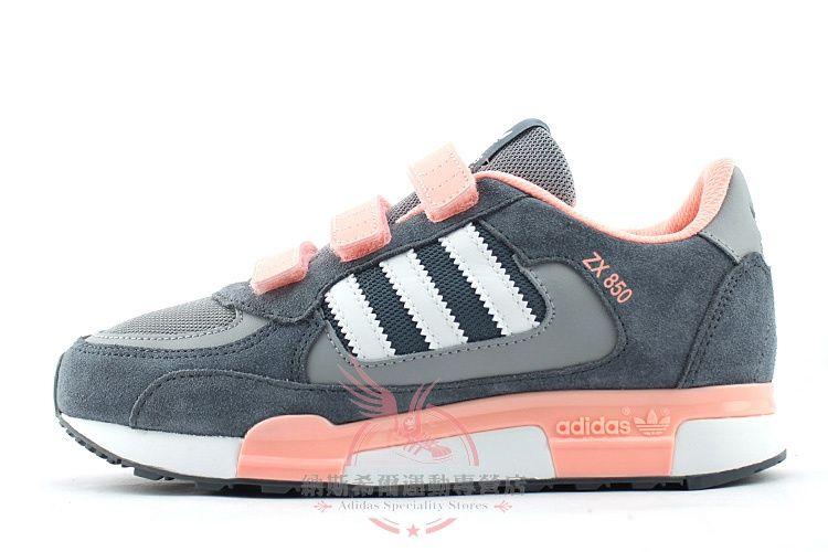 Women Adidas Originals ZX 850 Velcro Running Shoes Grey Pink