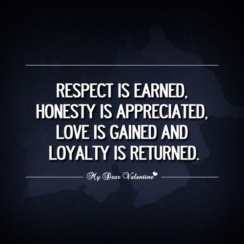 Respect Is Earned Honesty Is Appreciated Love Is Loyalty Quotes Appreciation Quotes Respect Is Earned