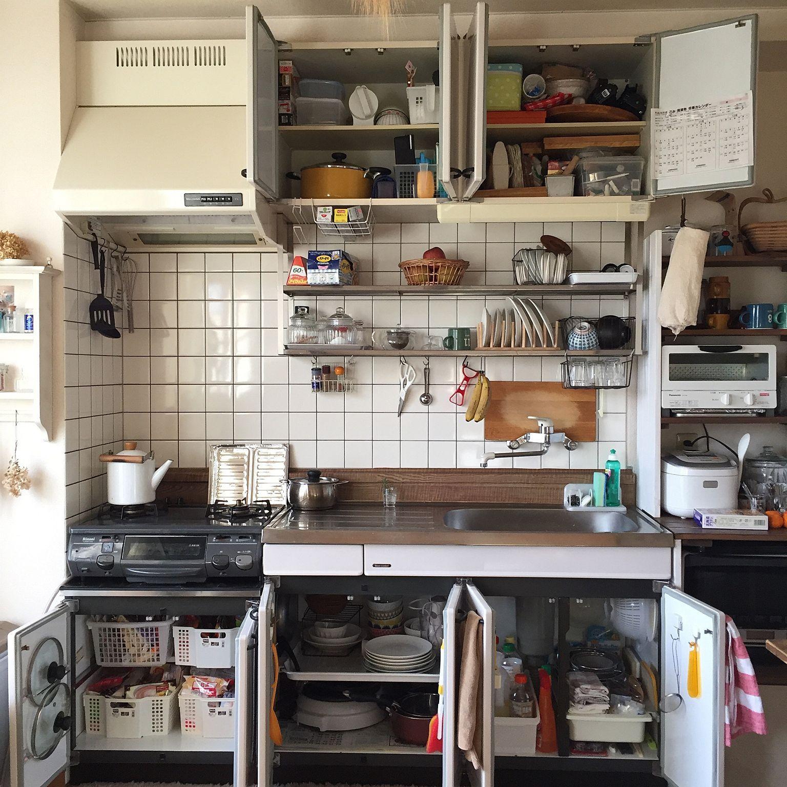 キッチン 断捨離 整理整頓 大掃除 吊り棚 などのインテリア実例