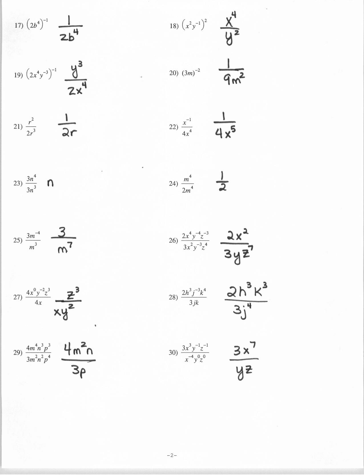 Negative Exponent Worksheet Delibertad – Negative Exponent Worksheet