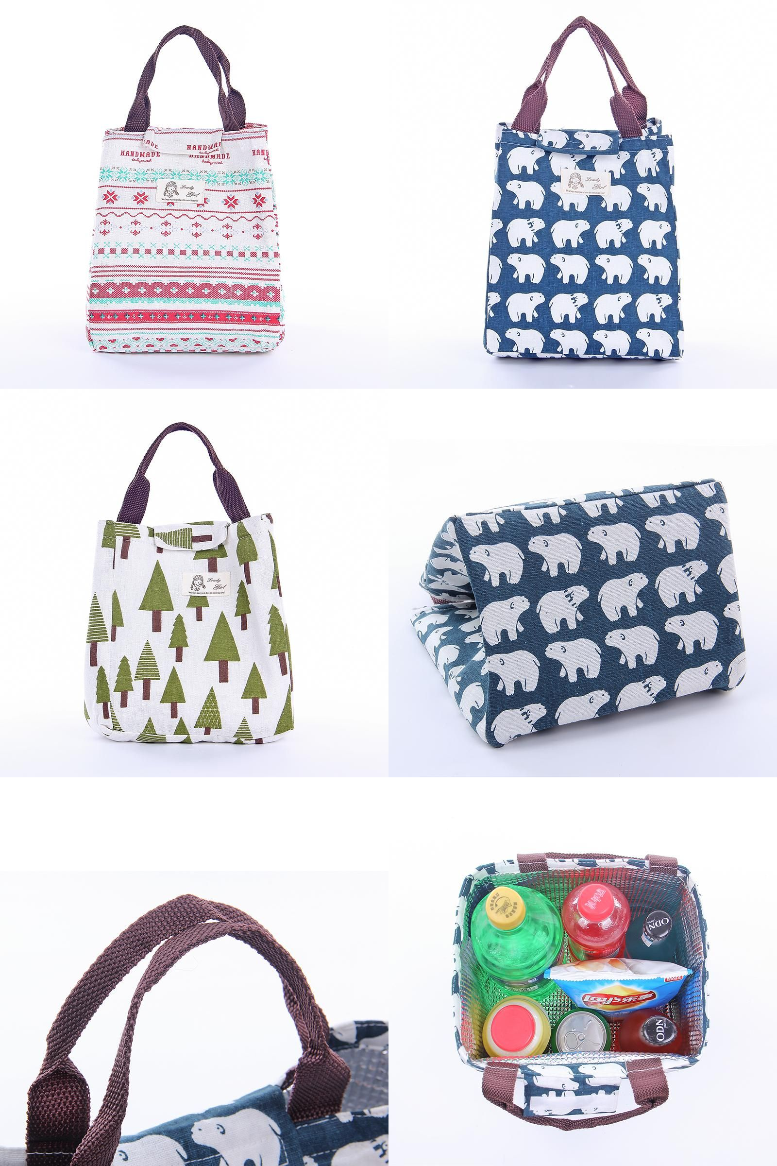 Portable Cute Animal  Lunch Bag Thermal Food Picnic Cooler Lunch Box Bag Tote