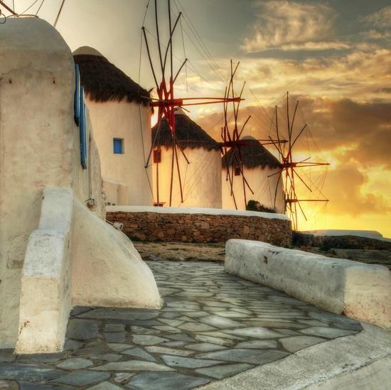 windmills in glow, Mikonos,,Greece