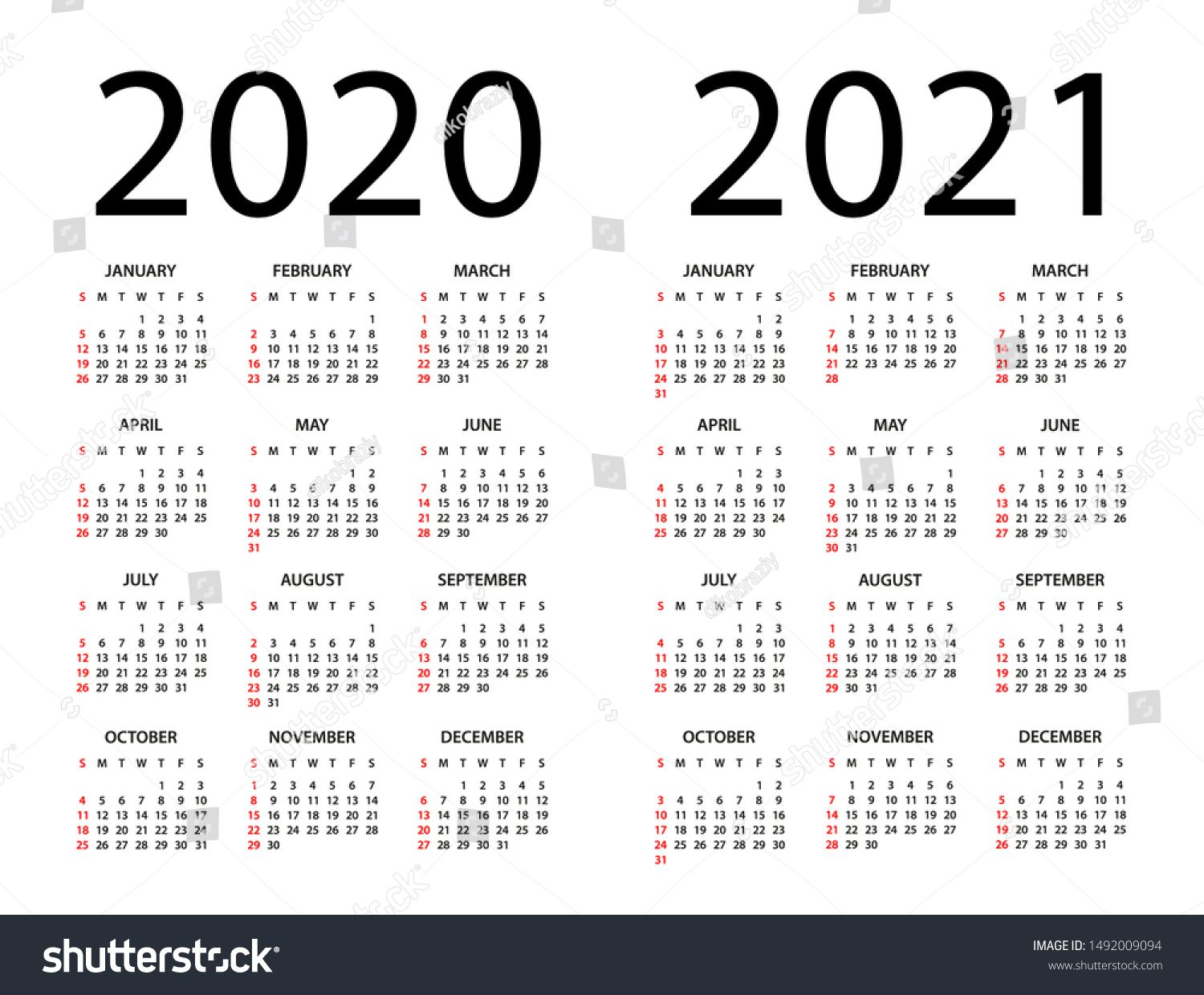Calendar 2020 2021 Year Vector Illustration Week Starts On Sunday Ad Ad Year Calendar Vector Calendar Printables Calendar 2020 Calendar 2019 And 2020