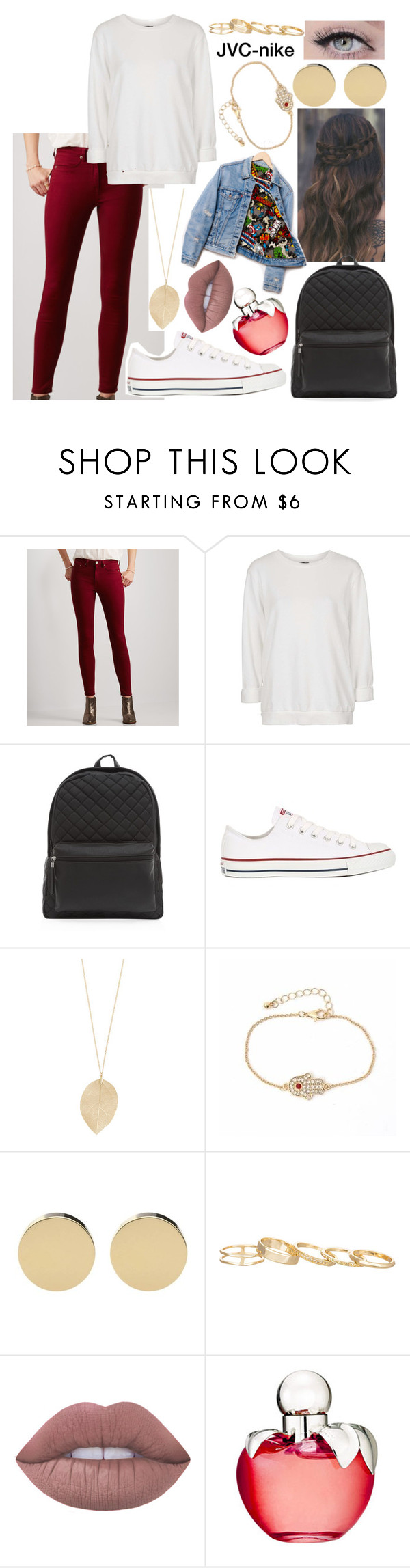 """Superhero"" by jvc-nike ❤ liked on Polyvore featuring Aéropostale, Topshop, Converse, Levi's, Kendra Scott, Lime Crime and Nina Ricci"