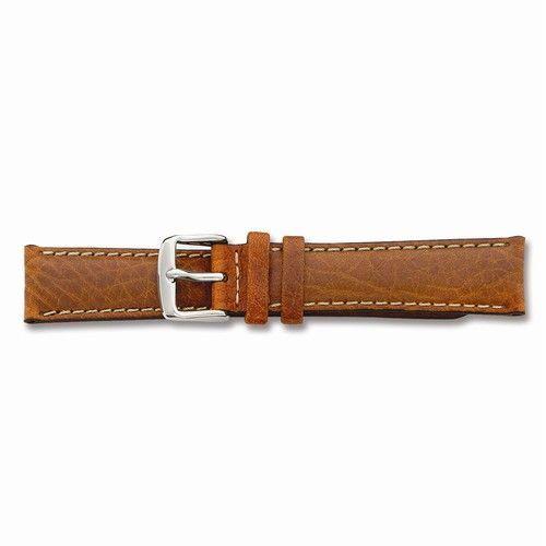 24mm Havana Lthr Wht Stitch Silver-tone Buckle Watch Band (JBA97-14)