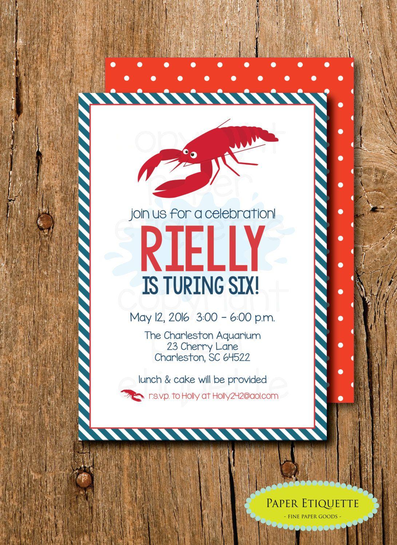 Lobster Party Birthday Invitation - Lobster Nautical Birthday