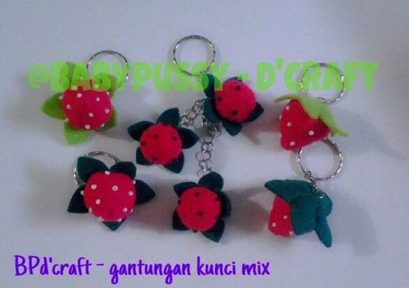 My handmade strawberry key chain.. made with ♥
