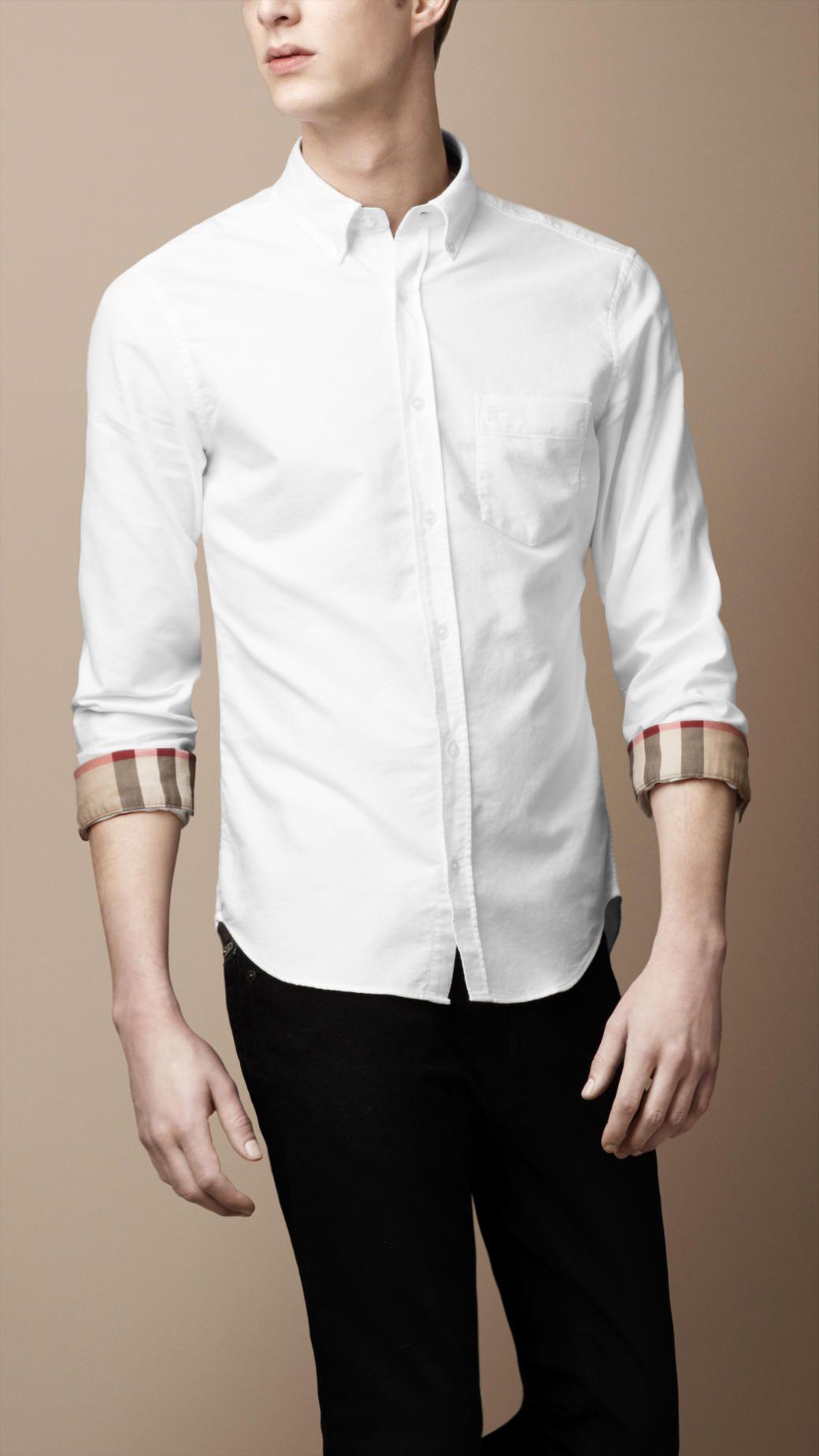 Button-Down Cotton Shirt   Burberry   Clothes Acessories   Pinterest ... c3fee32ecc89
