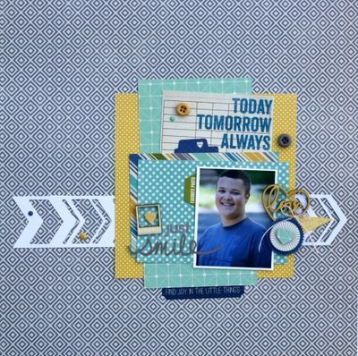 Just Smile Layout by Sheri Feypel via Jillibean Soup Blog
