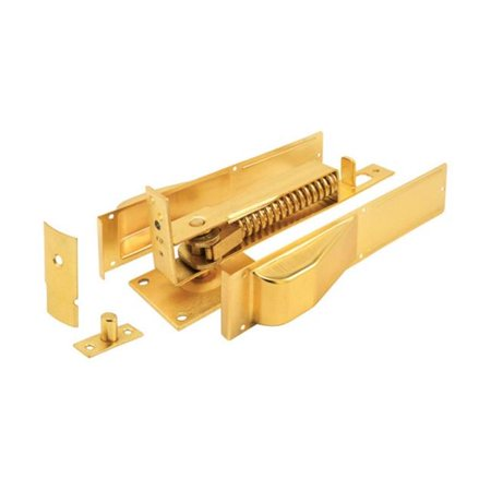 Prime Line Rg 18669 Door Closer Bottom Hinge 1 3 8 Inch Brass Plated Size 3 8 Inch H X 9 6 Inch W X 3 3 Inch Large Gold Closed Doors Wood Metal Brass