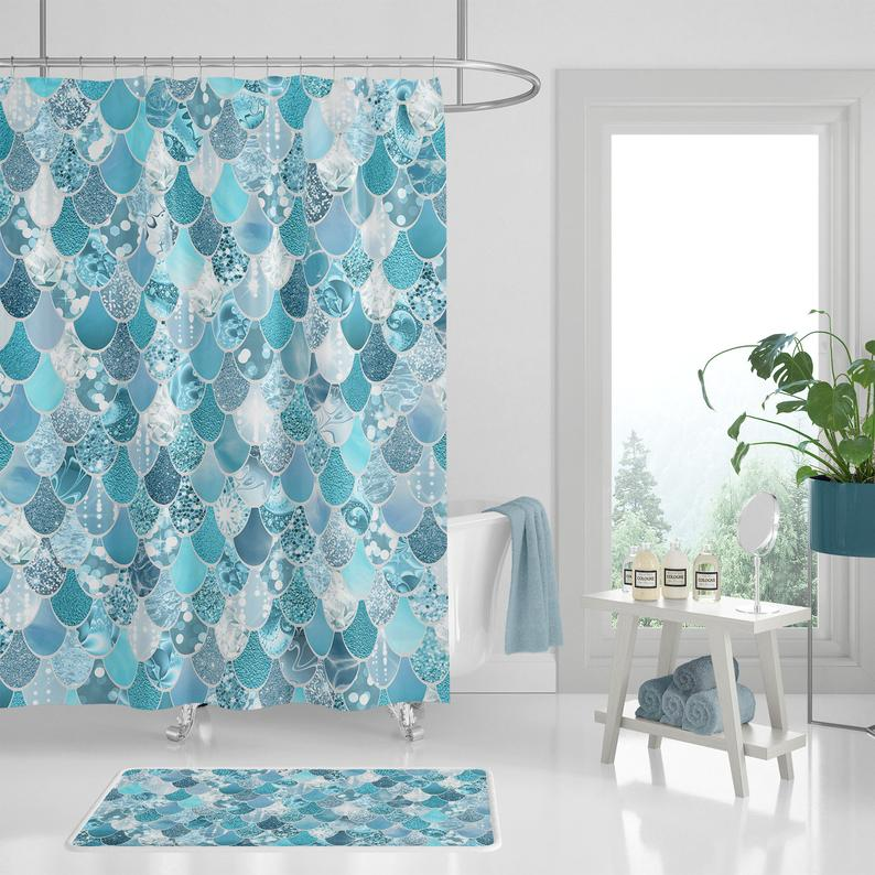 Shower Curtain Sets Teal Mermaid For Kids Create Your Own Set From Shower Curtains Bath Mats And Hand Towels Prices Starting Mermaid Shower Curtain