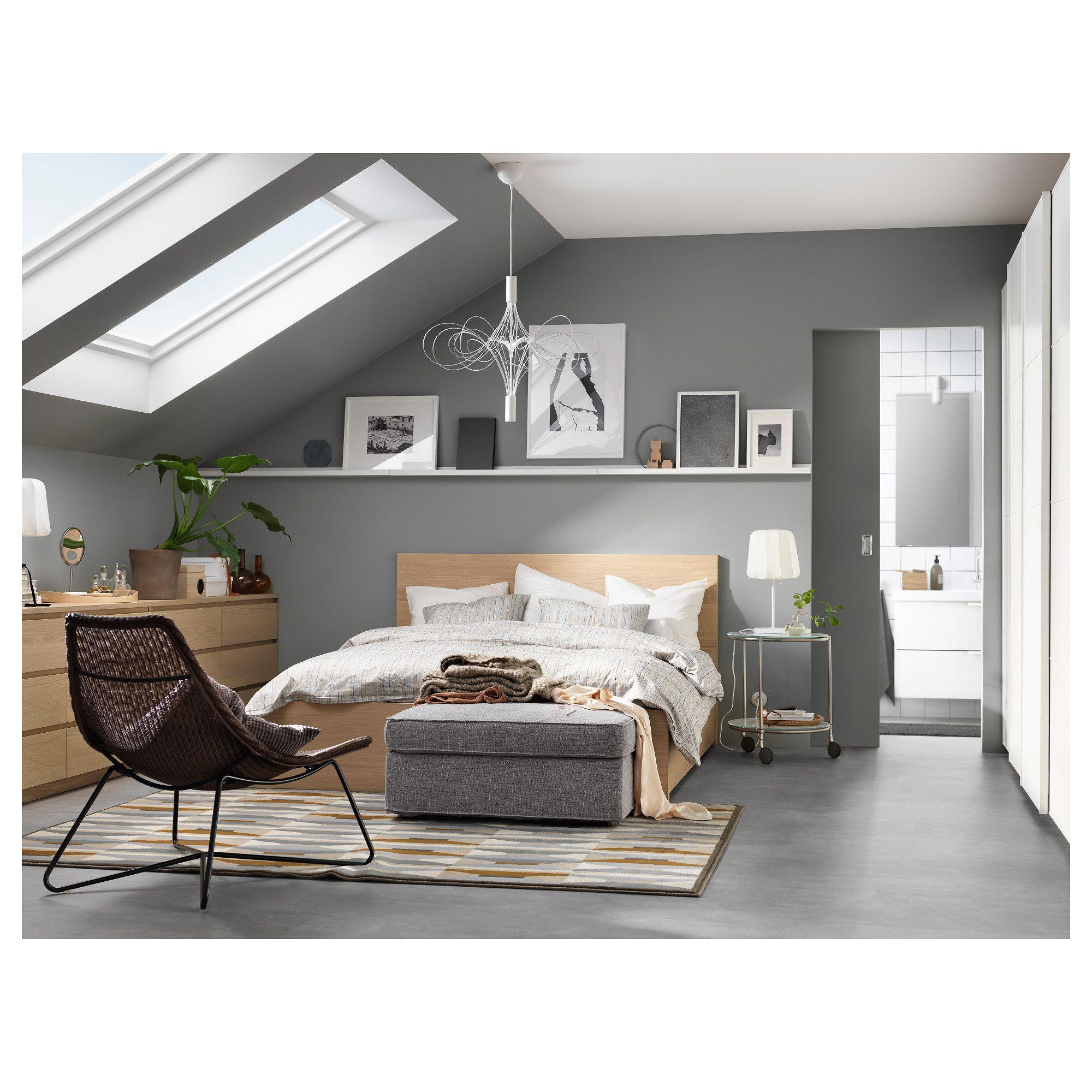 Malm High Bed Frame 2 Storage Boxes White Stained Oak Veneer Luroy Queen En 2020 Dormitorios Camas Decoracion De Muebles