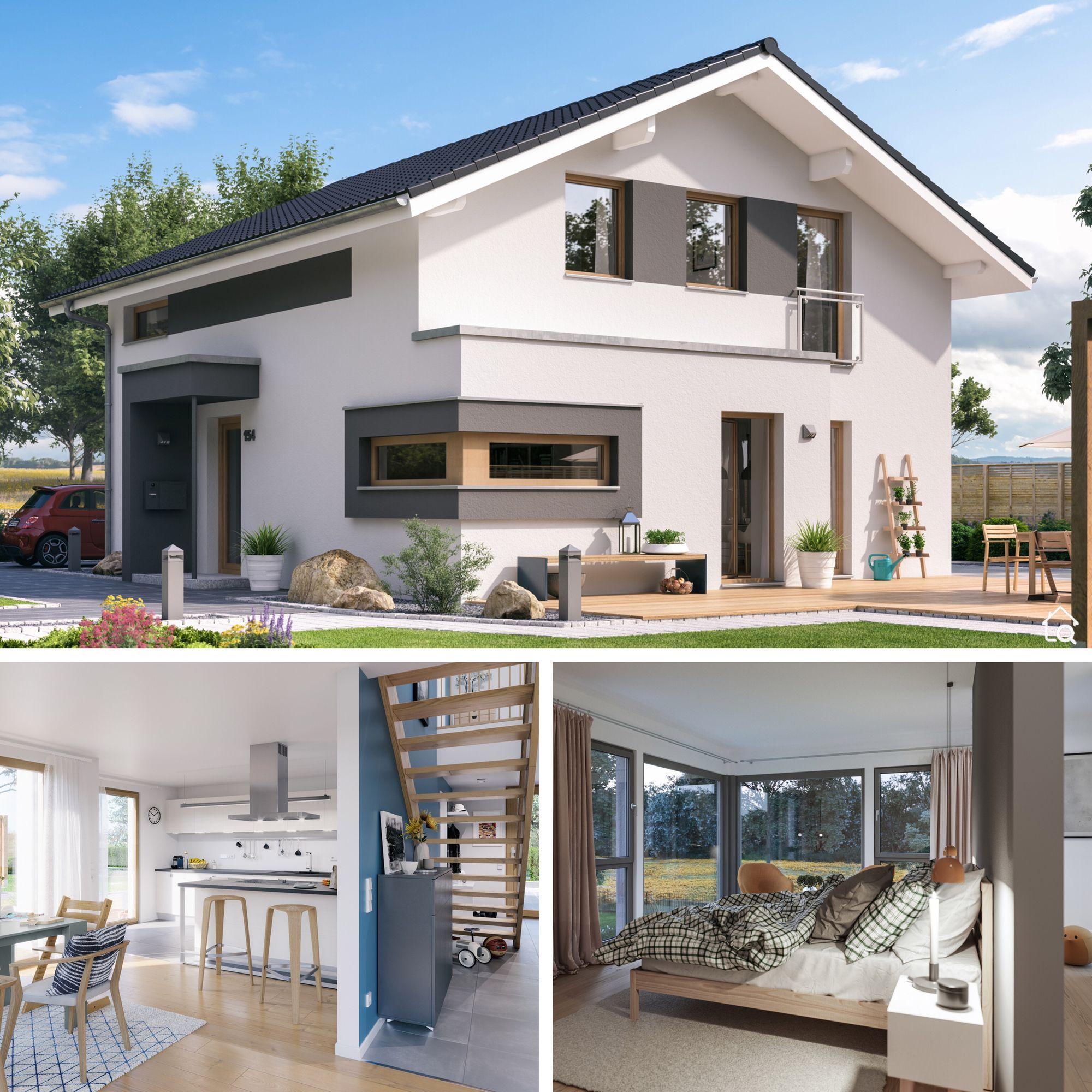 Fertighaus modern bauen mit Satteldach & Putz Fassade in