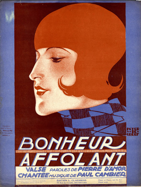 "Illustrated Sheet Music by Peter De Greef, 1927, ""Bonheur Affolant""."