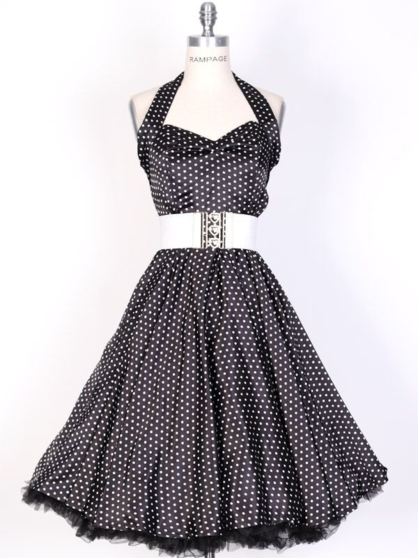 swing dress pattern   50s SmallWhiteDot/Black Polka Dot Swing Satin ...