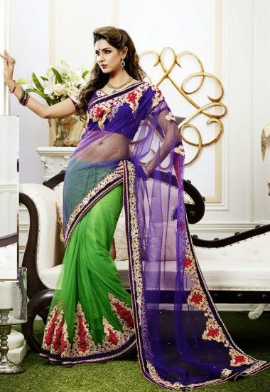 Purple Shaded Parrot Green Net Triangle Jaal Butta Saree Designed With Petticoat Inr 7790 Only With D Saree Designs Party Wear Sarees Latest Indian Saree