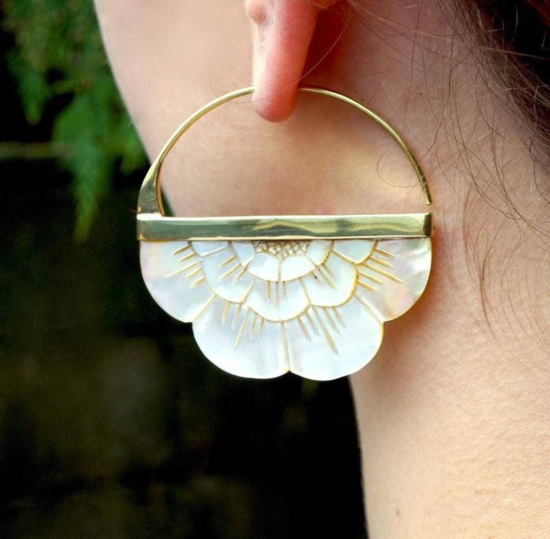 Mother of Pearl Large Flower Hoop Earrings hand carved | Etsy