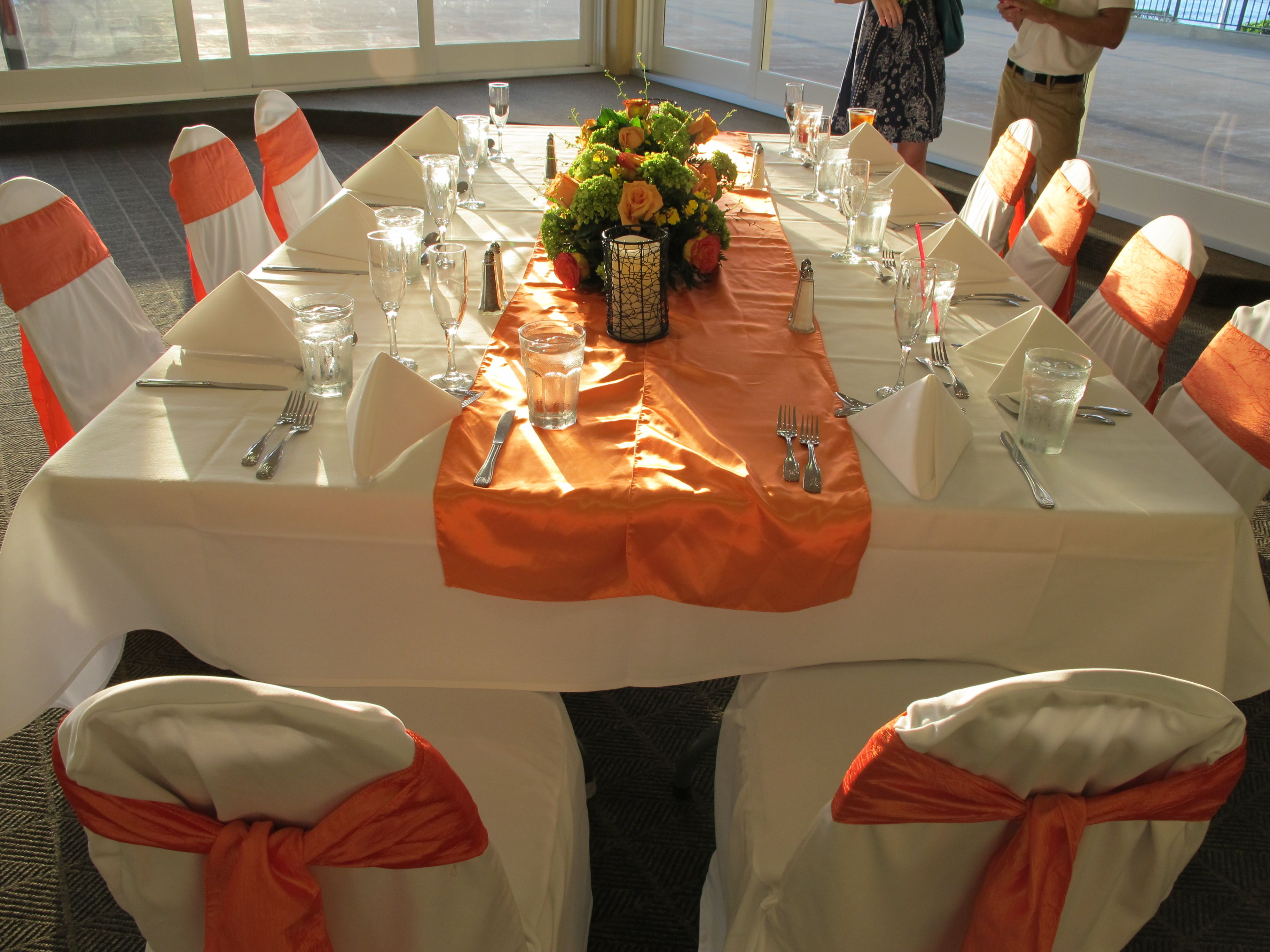 Couple Wants White Floor Length Table Linens Orange Table