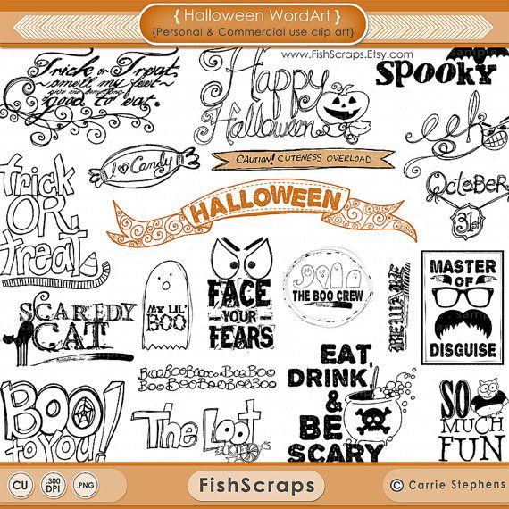 halloween word art halloween scrapbooking title quotes photoshop brush png clipart digital stamps candy ghost black cat