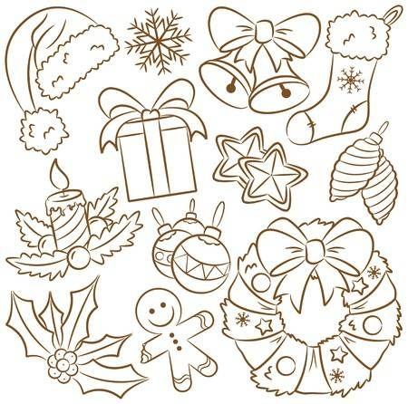 Cute Doodle Symbole Auf Thema Weihnachten Weihnachten Zeichnen Weihnachten Zeichnung Weihnachten Clipart