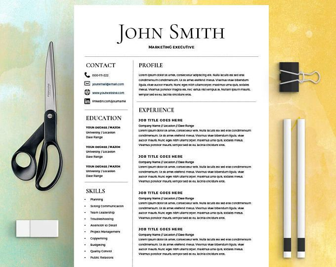 Simple Resume Template - Microsoft Word Resume + Cover Letter - simple resume template microsoft word
