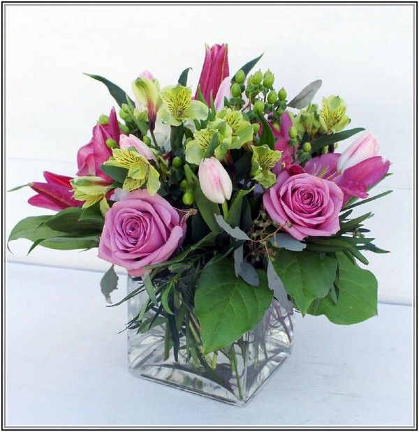 Square Vase Flower Arrangement Arrangements Pinterest Flower