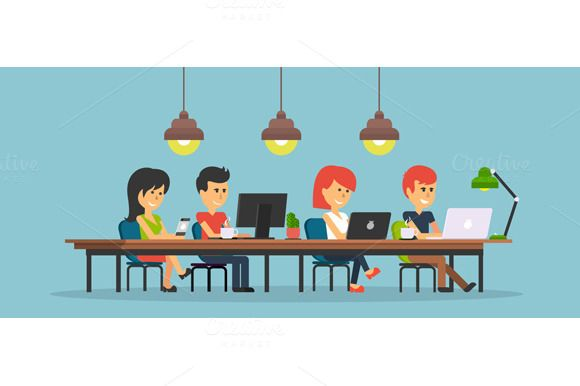 People Work In Office Design Flat With Images Office Design