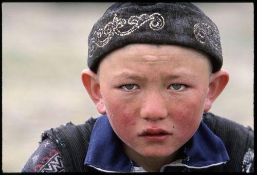 Green Eyed Kazakh Boy Xinjiang People With Blue Eyes
