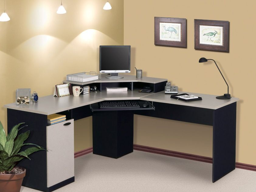 good looking designs of computer table for home. Attractive L Shaped Desks IKEA Relevant To Home Office With Keyboard Drawer  Combine Modern Desk Lamp Featuring Brown Colored Wall And White Rug Area Computer Design Gray Color PC Pinterest