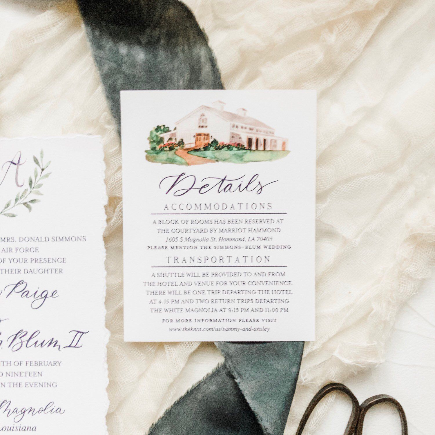 Custom Wedding Invitation Suite Featuring Calligraphy And
