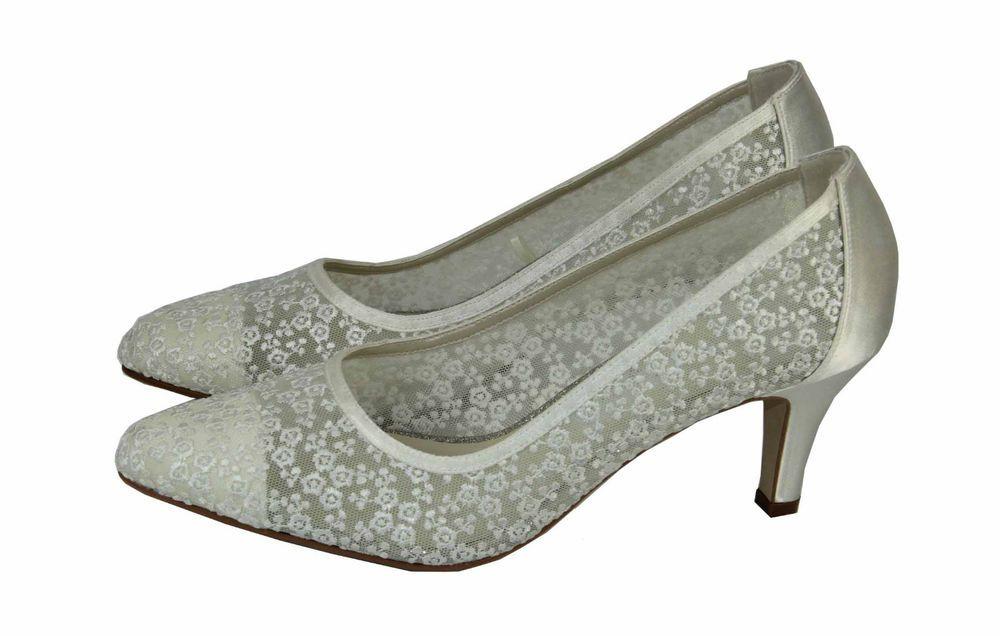 Brautschuhe Rainbow Couture Satin mit Stickere ivory pumps ivory 38