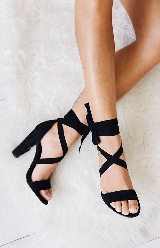 f5641bbc224c2c Gael Heel - Black Micro from peppermayo.com Black Sandal Heels