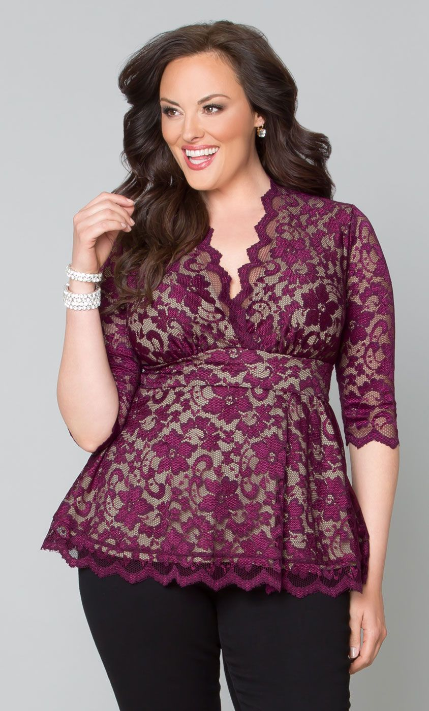 check out our gorgeous plus size linden lace top in a mulberry and