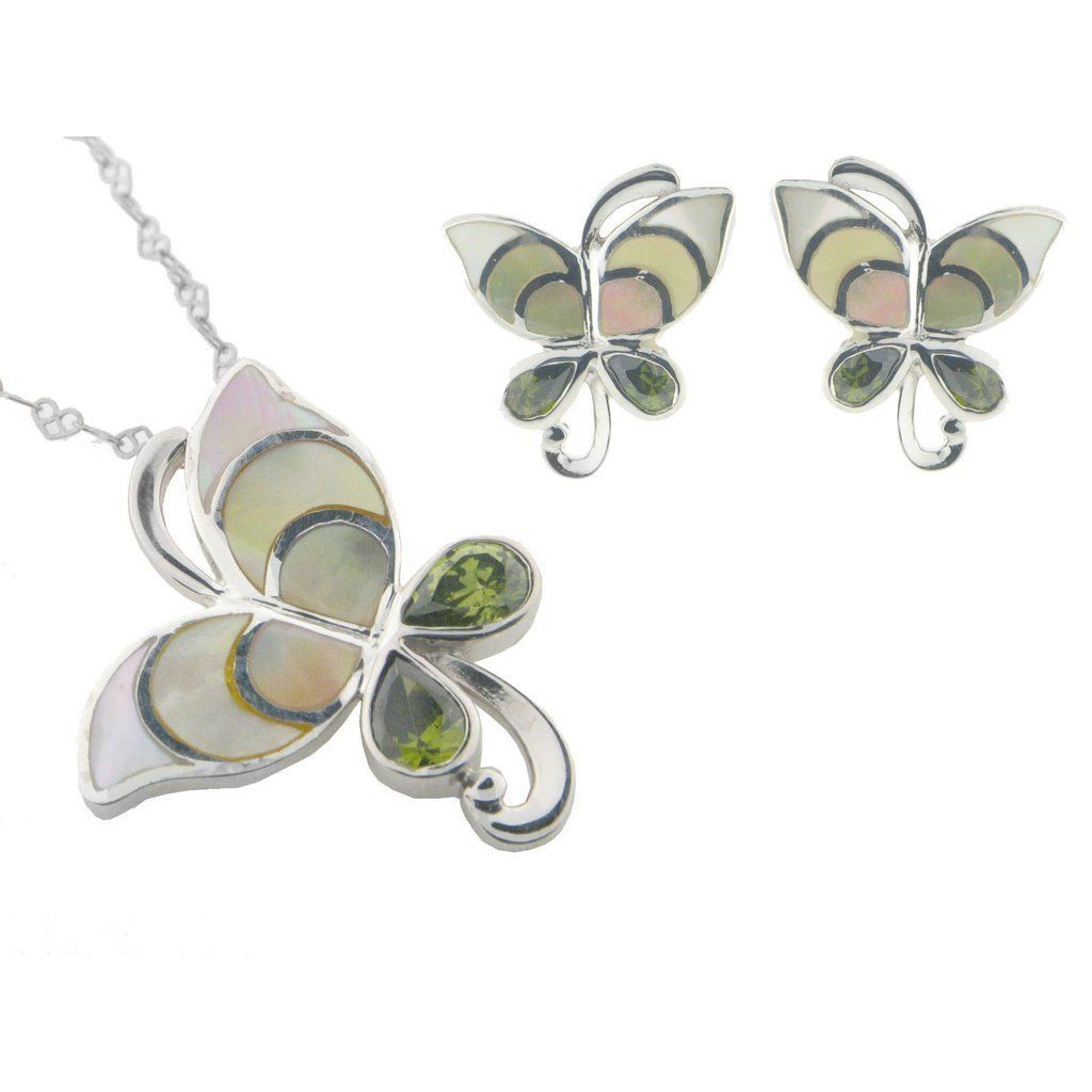 Vintage butterfly mother of pearl earring and pendant set